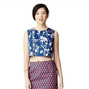 Kate Spade Saturday Cropped Poppy Blueprint Top S